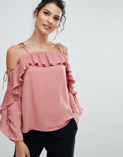 Pleated Cold Shoulder Top - Pink