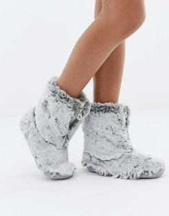 Cole short faux fur slipper boot in gray - Gray