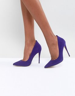 Suede Purple Pointed Shoe - Blue