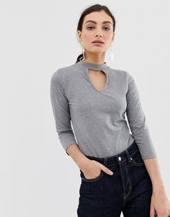 Body with 3/4 arm roll neck and keyhole cut out - Gray