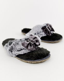 Jacqui faux fur toe post slipper in charcoal - Gray