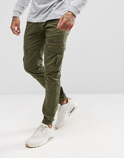 Cuffed Cargo Joggers in Tapered Fit - Green