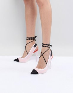 Heeled Slingback Shoe in Pink with Ankle Strap - Pink