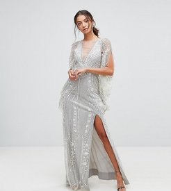 Embellished Maxi Dress With Cape Sleeves - Silver