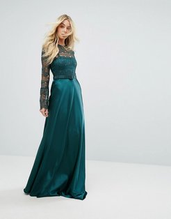 Bodyfrock Lace Long Sleeve Maxi Dress With Satin Skirt - Green