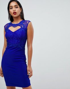 Sweetheart Bodycon Dress With Lace Trim - Blue