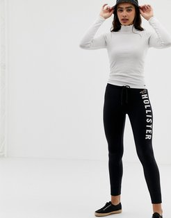 cozy skinny joggers with large logo - Black