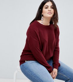 boxy scoop neck sweater - Red
