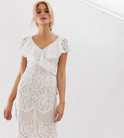 Lace Pencil Dress With Frill Overlay - White