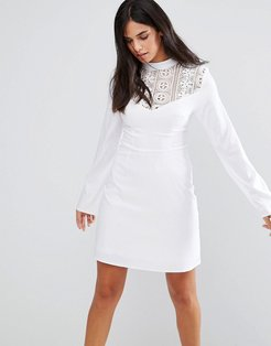 Lace Insert Dress - White