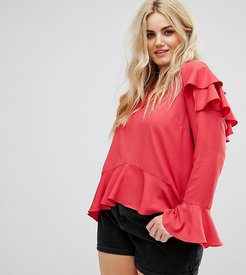 Top With Ruffle Layers In Sheer Fabric - Red