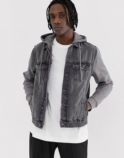 denim jacket with jersey sleeves in gray wash