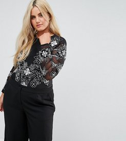 Going Out Embellished Bodysuit with Embellishment and Embroidery - Black