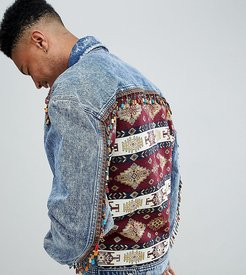 tall oversized denim jacket with back print and beading - Blue