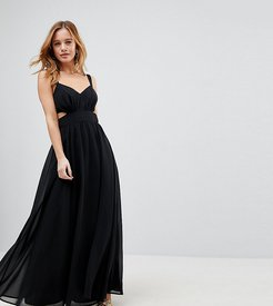 Side Cut Out Maxi Dress with Cami Straps - Black