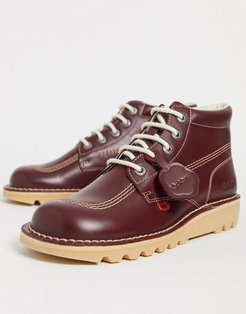 kick hi boots in red leather - Red