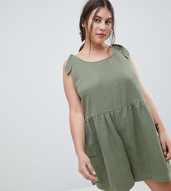 ASOS DESIGN Curve Smock Romper With Tie Shoulder - Green