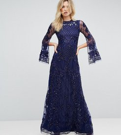 Embellished Maxi Dress With Long Split Sleeve - Navy