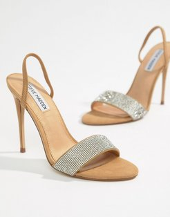 Fierce Rhinestone Slingback Heeled Sandals - Beige