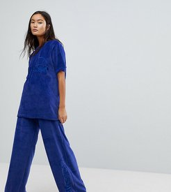 Oversized T-Shirt Co-Ord In Velour - Navy