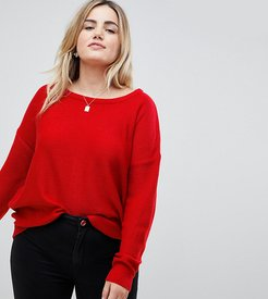 Racer Sweater with Zip Back - Red