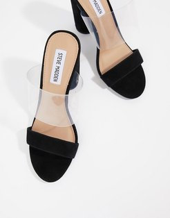 suede heeled sandals - Black