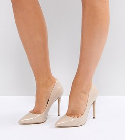Wide Fit Beige Pointed Pumps - Beige
