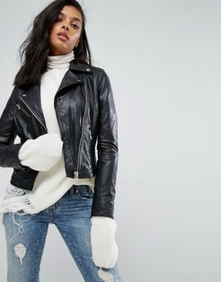 Leather Jacket With Quilted Detail - Black