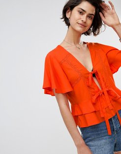Lace Insert Tie Front Top With Ruffle Hem - Multi