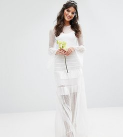 Bodyfrock Bridal Pleated Maxi Dress With Fluted Sleeves - White