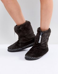 Marilyn Short Faux Fur Slipper Boot - Black