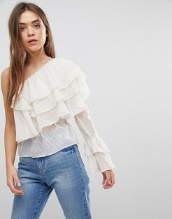 One Shoulder Tiered Ruffle Top - Cream