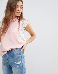 Lace Contrast Top With Collar - Pink