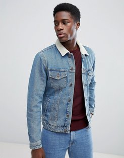 Fleece Collar Denim Jacket - Blue