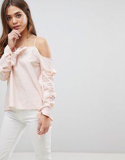 Cold Shoulder Top With Bow Cuff Details - Pink