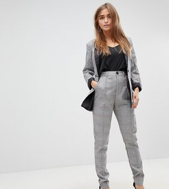 tapered tailored pants in check - Multi