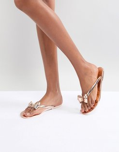 Jelly Flat Sandal With Bow Detail - Gold