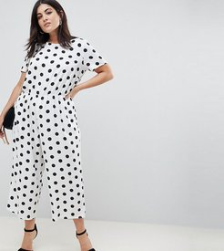 ASOS DESIGN Curve polka dot jumpsuit with short sleeve - Multi