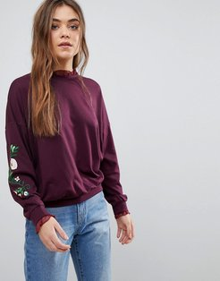 Embroidered Sweatshirt - Red