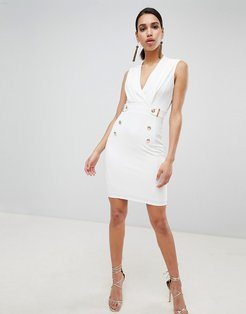 tuxedo bodycon dress - White