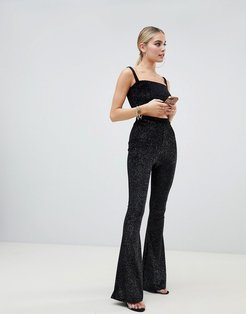 flared PANTS Two-piece in black glitter - Black