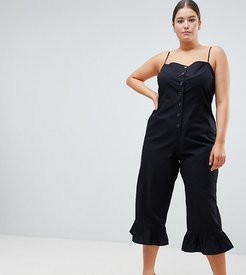 ASOS DESIGN Curve cotton frill hem jumpsuit with square neck and button detail - Black