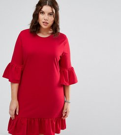 Extreme Frill Sleeve And Hem Shift Dress - Red