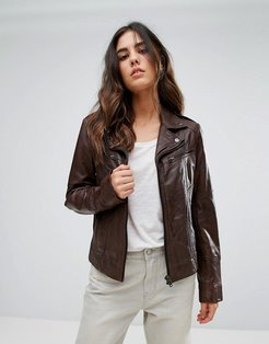 Longline Biker Jacket - Brown