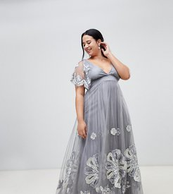 embellished maxi dress with cape detail in silver - Gold