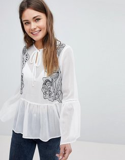 Embroidered Frill Hem Blouse - White