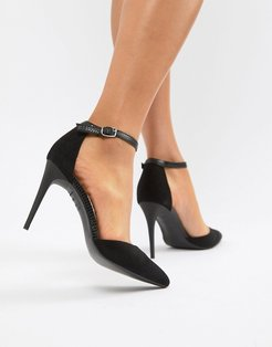 Snake Detail Pointed Court - Black