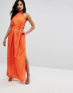 AQ/AQ Maxi Dress With Ruched Detail And Belt - Orange