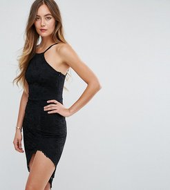 Asymmetric Hem Halterneck Dress - Black