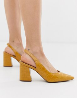slingback block heeled shoes in dark yellow croc - Yellow
